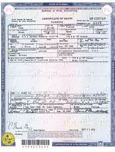 Florida Death Certificate Template