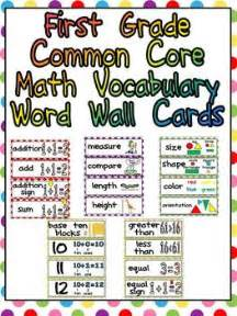 vocabulary words for 1st grade grade common math vocabulary word wall cards by williams