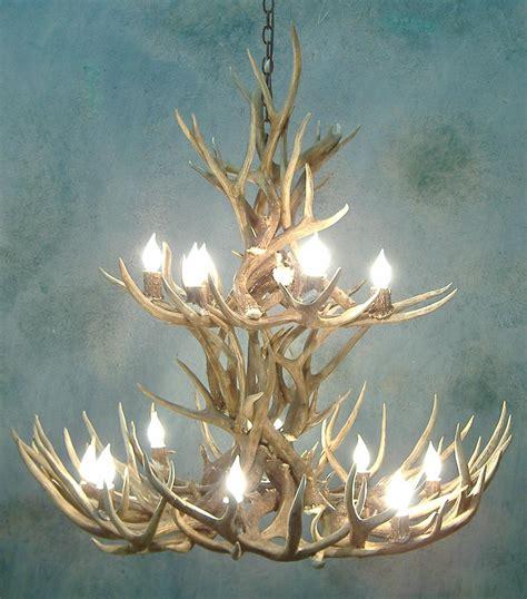 mule deer antler chandelier aspen 2 tier