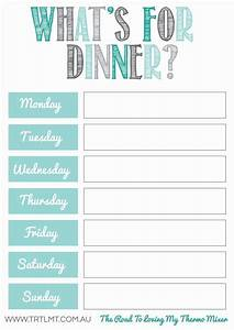 Weekly dinner meal planner template listmachineprocom for Weekly dinner menu template