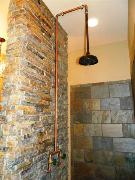 exposed copper shower ideas pictures remodel  decor