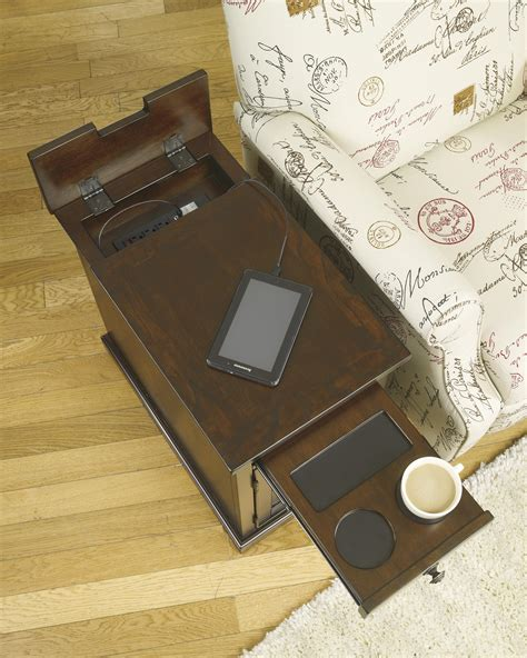ashley furniture end table with power laflorn chair side end table with power outlets pull out