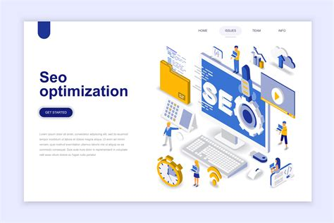 isometric seo optimization design concept