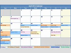 April 2014 Calendar with Holidays as Picture