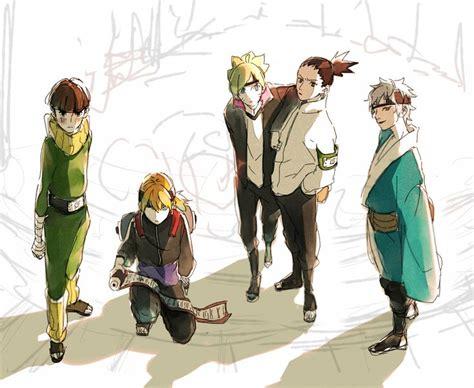 Metal Lee, Inojin, Boruto, Shikadai, And Mitsuki