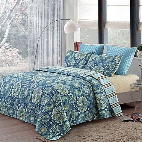 blair reversible quilt set  blue bed bath