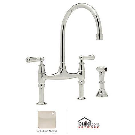 bridge style kitchen faucet rohl u 4719l pn 2 perrin and rowe bridge style kitchen faucet with sidespray polished nickel