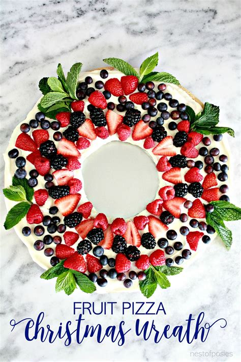 christmas wreath fruit pizza recipe sweetness