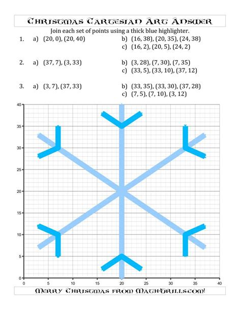 a symmetrical christmas snowflake coordinate grid picture