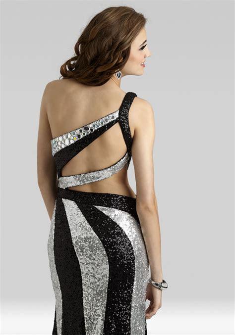 Clarisse 2014 Black Silver Sequin One Shoulder Open Back ...