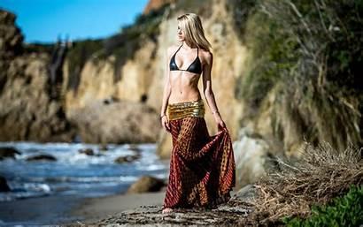 Bikini Ftopx Beach Wallpapers Blonde Stomach Walk