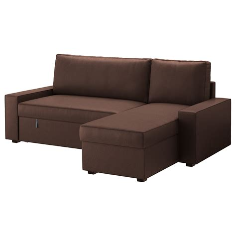 chaise longue en teck vilasund sofa bed with chaise longue borred brown ikea
