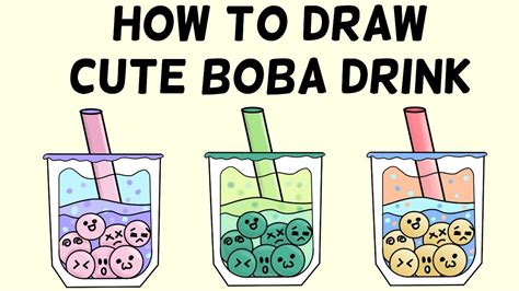 Download transparent boba tea drawing with hd quality by augusto for desktop and phones. How To Draw Boba Drink: Cute And Easy Milk Tea - YouTube