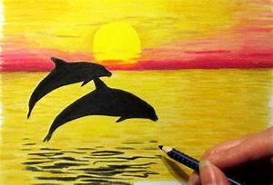 Drawing Of Natural Scenery Sunrise With Pencil - Drawing ...