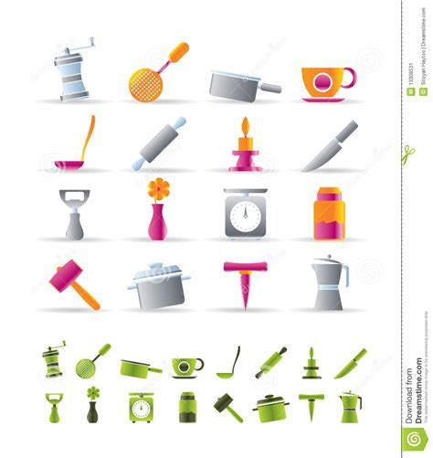 Kitchen And Household Tools Icons Stock Image   Image