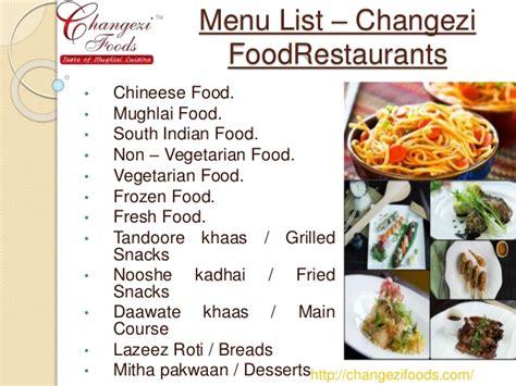 cuisine menu list restaurants in delhi