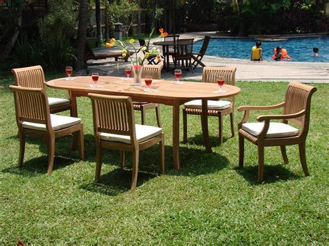 Ebay Patio Furniture Canada by 7 Pc Teak Dining Set Garden Outdoor Patio Furniture New