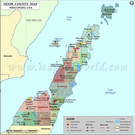 door county wisconsin map door county map wisconsin