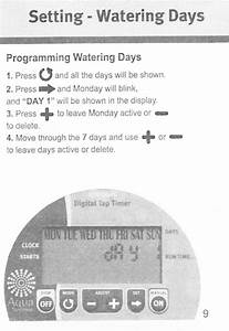 Aqua Systems Electronic Digital Tap Timer Instruction