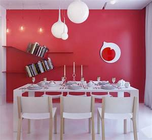 dining room wall decor with red painting and wall shelves With red dining room wall decor
