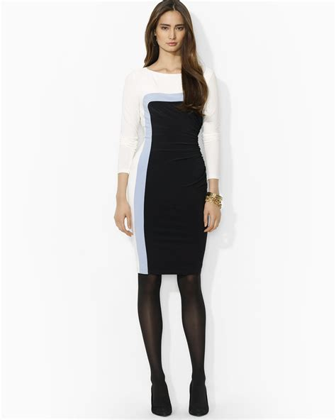 lyst ralph lauren lauren dress color block matte jersey  white
