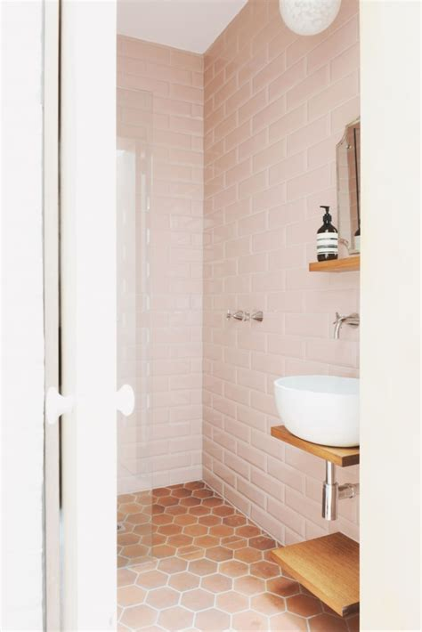 modern sophisticated pink bathrooms apartment therapy