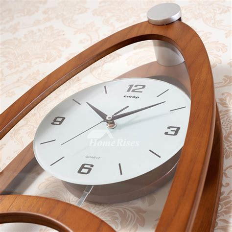 pendulum wall clock wooden living room analog glass long