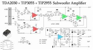 Subwoofer Amplifier Using Tda2030   Tip3055 Tip2955