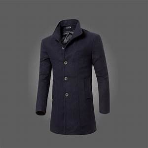 New Hot Men's Casual Wool Coat Winter Warm Long Trench ...