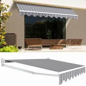 Store Banne Manuel : store banne manuel 3 95 m x 3 m ray gris blanc paravent ~ Premium-room.com Idées de Décoration