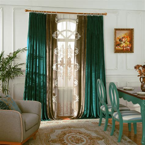 Tall And Long Vintage Emerald Green Curtains
