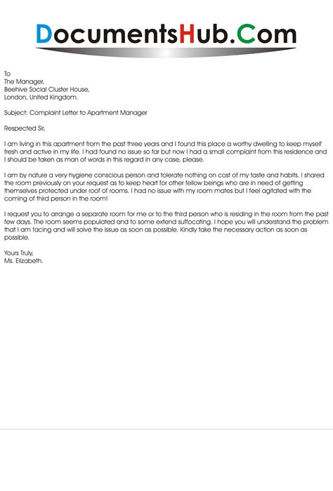 Complaint Letter to Apartment Manager Sample