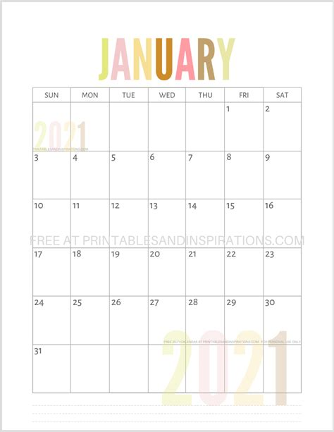41+ Free Printable Calendar January 2021  Pictures