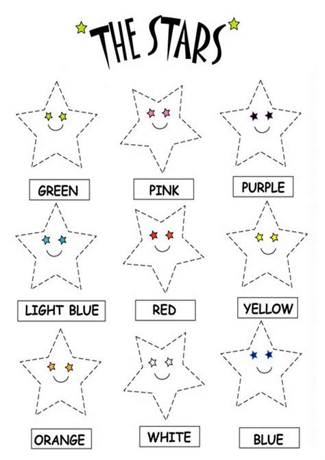 color  stars worksheets   printable