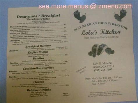 menu  lolas kitchen restaurant barstow