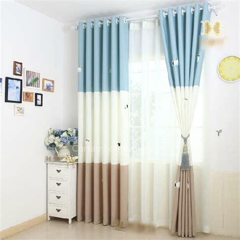 blue pattern sweet baby boy nursery curtains