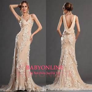 2015 New Evening Dresses Sheath Sleeveless V Neck Applique Long Train Ladies Evening Gowns_2015 ...