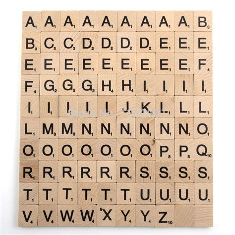 100 wooden scrabble tiles letters black numbers alphabet