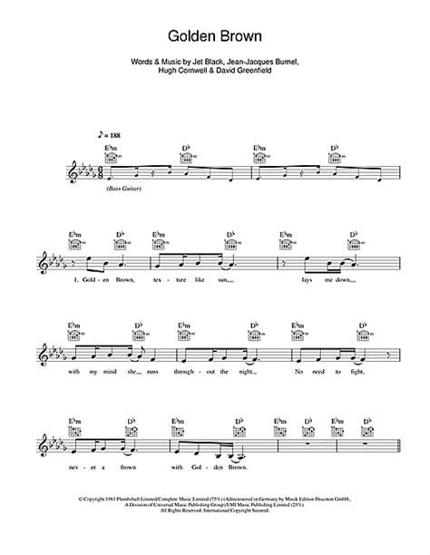 Golden Brown Chords By The Stranglers (melody Line, Lyrics