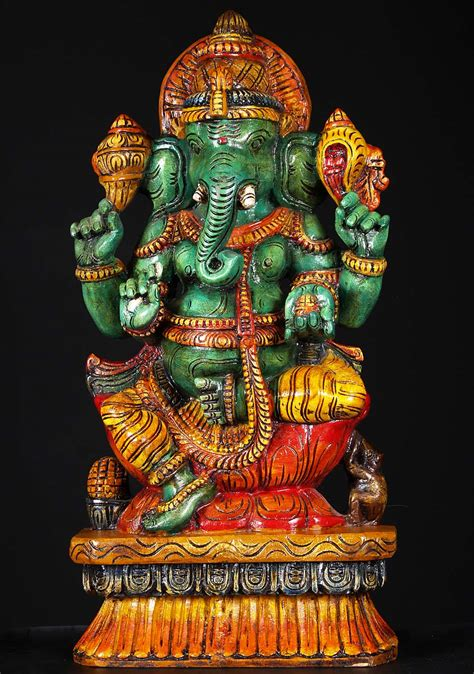 SOLD Wooden Green Seated Ganesh Statue 24