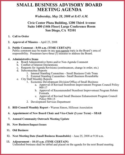 non profit board meeting agenda board meeting agenda template 10 free sles formats for word