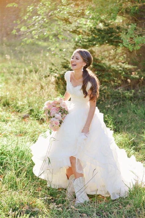 discount modest cowboy boots country wedding dresses