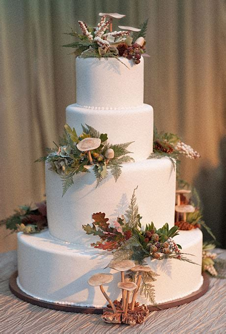 wedding inspiration center fall wedding cake  nature