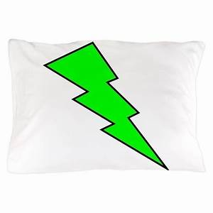 Neon Green Lightning Bolt Pillow Case by GraphicArt ly