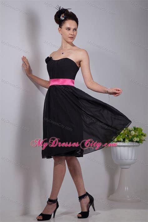 black empire strapless chiffon short bridesmaid dresses