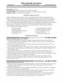 mental health therapist resume exles mental health specialist resume
