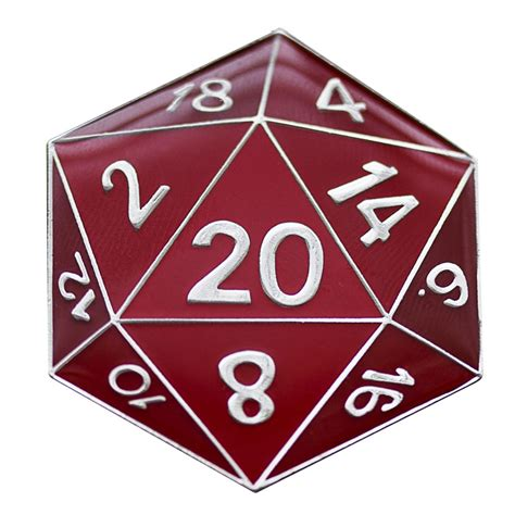 d20 metal pin assorted colors cardboard clothing and