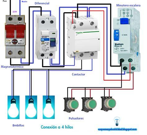 minutero escalera conexion a 4 hilos con contactor electricidad electr 243 nica industrial