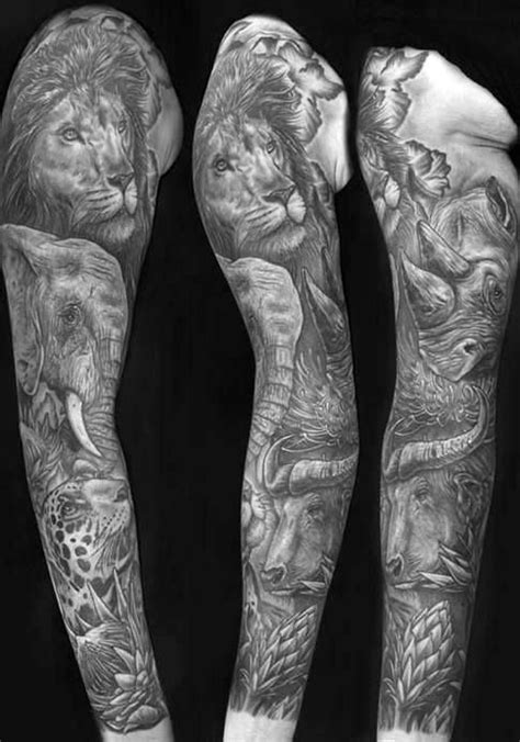 60 Lion Sleeve Tattoo Designs For Men - Masculine Ideas | Sleeve tattoos, African sleeve tattoo