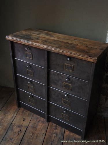 ancien meuble  casiers industriel strafor plateau chene